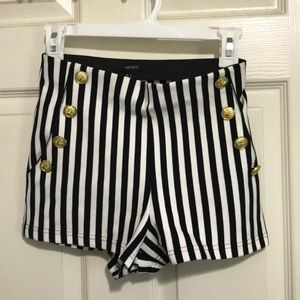 Black and white stripped shorts